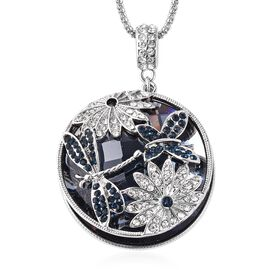 Simulated Grey Spinel (Rnd), Blue and White Austrian Crystal Pendant With Chain in Silver Tone