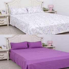 8 Piece Set - 2x Fitted Sheet, 2x Flat Sheet and 4x Pillow Case Set (Size Double) - Purple