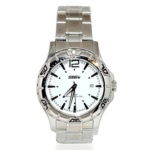 SABRE White Dial Water Resistant Watch with Stainless Steel Strap
