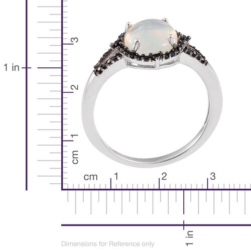 Ethiopian Welo Opal (Ovl 2.05 Ct), Boi Ploi Black Spinel Ring in Platinum Overlay Sterling Silver 2.500 Ct.