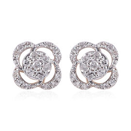9K Yellow Gold SGK Certified Diamond (I3/G-H) Floral Stud Earrings 0.20 Ct.