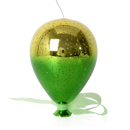 Gold and Green Colour Balloon Shape LED Light (Size 11.5x17 Cm) Needs 2 AA Batteries
