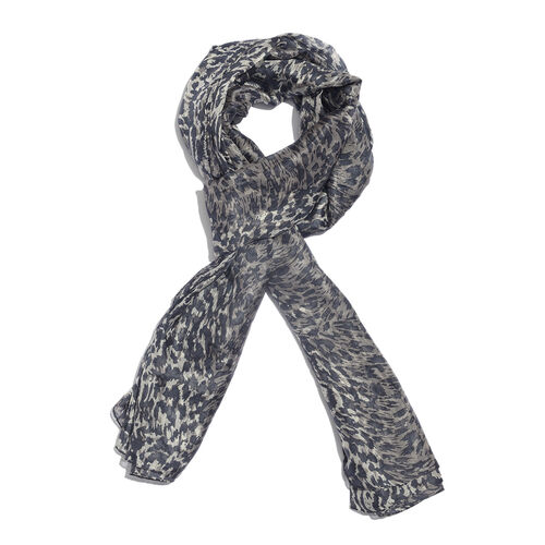 100% Mulberry Silk Black, Off White and Multi Colour Handscreen Printed Scarf (Size 170x100 Cm)