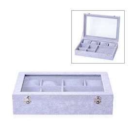 Iced Velvet Jewellery Box (Size 35x24.3x7.6 Cm) with Different Sections and Glass Window - Grey