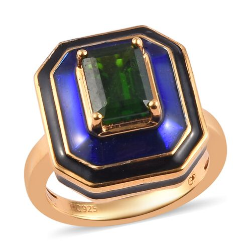 GP - Russian Diopside and Blue Sapphire Enamelled Ring in 14K Gold Overlay Sterling Silver 1.50 Ct,