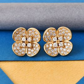J Francis 14K Gold Overlay Sterling Silver Floral Earrings Made with SWAROVSKI ZIRCONIA 2.46 Ct.