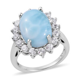 7.75 Ct Larimar and Cambodian Zircon Halo Ring in Platinum Plated Sterling Silver