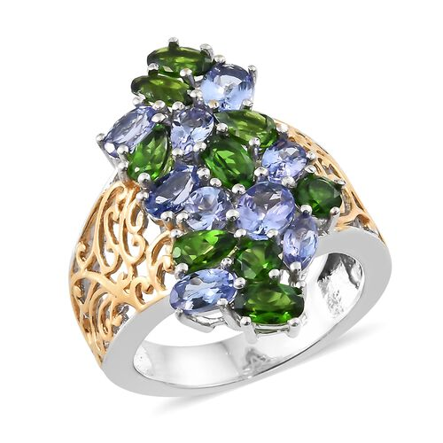 Russian Diopside (Pear), Tanzanite Filigree Ring in Platinum and Yellow Gold Overlay Sterling Silver 4.250 Ct. Silver wt 5.42 Gms.