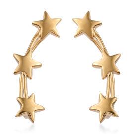 14K Gold Overlay Sterling Silver Star Climber Earrings, Silver wt 4.17 Gms.