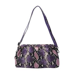 SENCILLEZ 100% Genuine Leather Snake Skin Pattern Clutch Bag with Detachable Shoulder Strap and Zipp