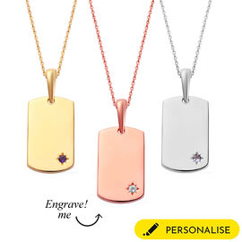Personalise Engraved Birthstone Dog Tag Necklace in Silver