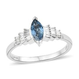 ILIANA 0.65 Ct AAA Aquamarine and Dimaond Ballerina Ring in 18K White Gold SI GH