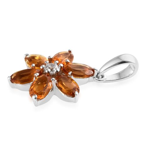 9K White Gold AA Madeira Citrine (Ovl), Natural Cambodian Zircon Floral Pendant 1.350 Ct.