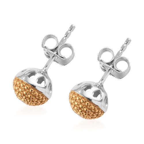 Yellow Diamond Stud Earrings (with Push Back) in Platinum and Yellow Gold Overlay Sterling Silver