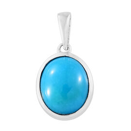 ILIANA 18K White Gold AAA Arizona Sleeping Beauty Turquoise (Ovl) Solitaire Pendant 2.750 Ct.