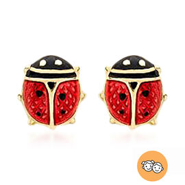 Children Ladybird Enamelled Earrings (with Push Back) in 9K Yellow Gold
