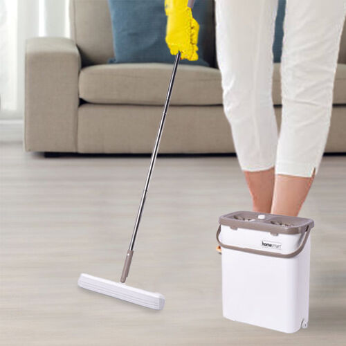 HOMESMART Sponge Head Mop with Dual Tank Bucket in White and Beige Colour (Size 141.5x33cm)