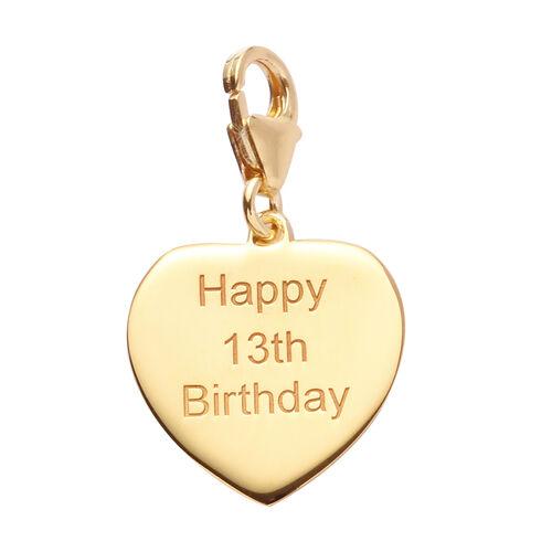 14K Gold Overlay Sterling Silver Happy 13th Birthday Charm