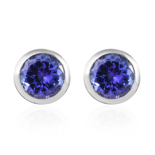 RHAPSODY 950 Platinum AAAA Tanzanite Stud Earrings (with Screw Back) 1.90 Ct.