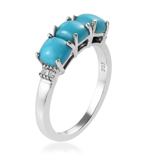 Arizona Sleeping Beauty Turquoise (Cush), Diamond Ring in Platinum Overlay Sterling Silver 1.79 Ct.