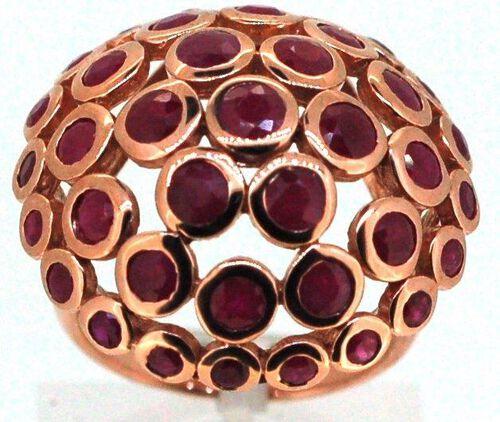 Burmese Ruby (Rnd) Ring in 14K Rose Gold Overlay Sterling Silver 7.010 Ct.
