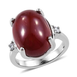 RHAPSODY 950 Platinum African Ruby and Diamond (VS1/F) Ring 16.65 Ct, Platinum wt. 8.15 Gms