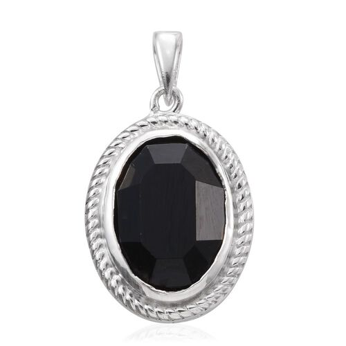 J Francis Crystal from Swarovski - Jet Crystal (Ovl) Solitaire Pendant in Platinum Overlay Sterling Silver