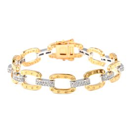RACHEL GALLEY Natural White Cambodian Zircon Bracelet  in Two Tone Plated Silver Size 8.25 Inch