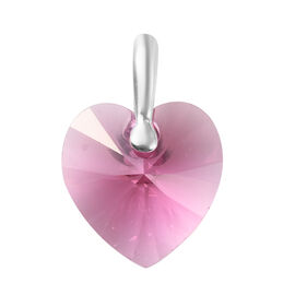 J Francis Rose Colour Crystal from Swarovski Heart Pendant in Sterling Silver