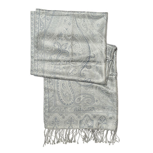 SILK MARK - 100% Superfine Silk Silver and Blue Colour Paisley and Floral Pattern Jacquard Jamawar Scarf with Fringes (Size 180x70 Cm) (Weight 125-140 Grams)