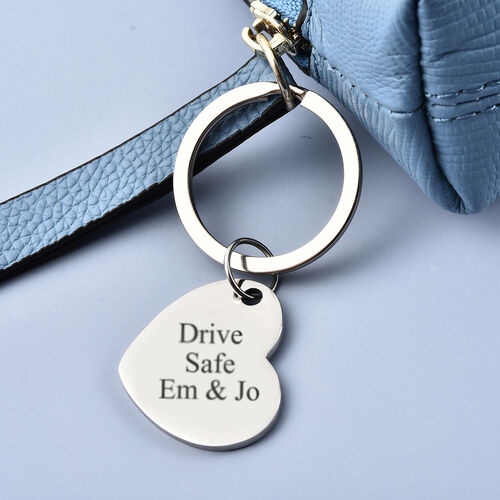 Personalise Engraveable Heart disc Key ring in Stainless Steel