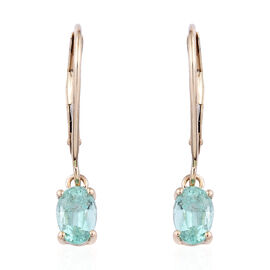 9K Yellow Gold AA Boyaca Colombian Emerald (Ovl) Lever Back Earrings 0.900  Ct.
