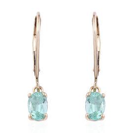 9K Yellow Gold AA Boyaca Colombian Emerald (Ovl) Lever Back Earrings 0.900  Ct.