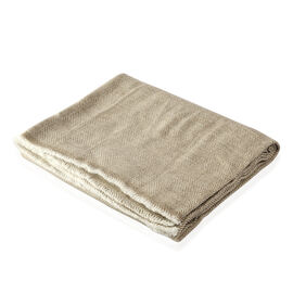 Luxury Collection Beige Colour Herringbone Weave Cashmere Wool Throw (Size 254x140 Cm)