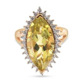 Natural Green Gold Quartz (Mrq 20x10mm), Natural Cambodian Zircon Ring in 14K Gold Overlay Sterling