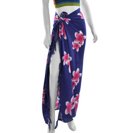 Balinese Navy Blue Colour Floral Pattern Hand Painted Sarong