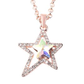 Simulated Mercury Mystic Topaz and White Austrian Crystal Star Necklace (Size 24) in Rose Gold Tone