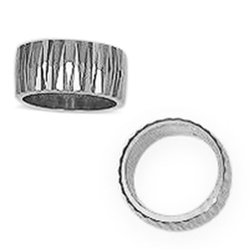 Designer Inspired-Rhodium Plated Sterling Silver Diamond Cut Band Ring, Silver wt. 5.58 Gms.