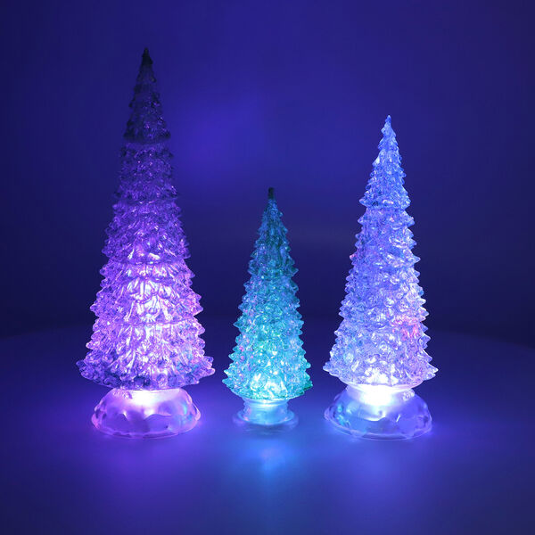 3 Piece Set Champagne Colour Crystal Tree with Colour Changing LED Lights