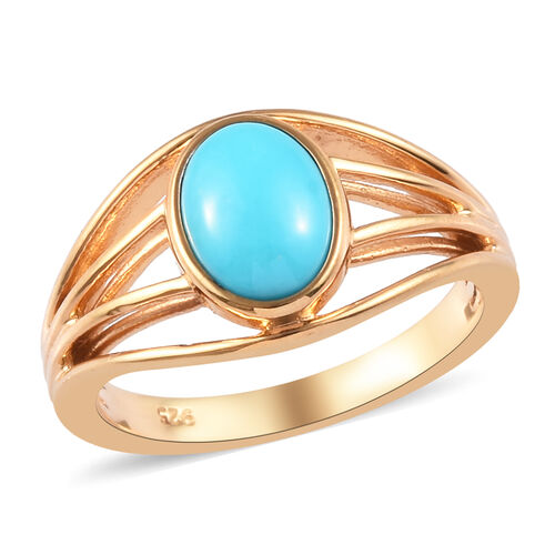 Arizona Sleeping Beauty Turquoise Ring in 14K Gold Overlay Sterling Silver 1.25 Ct.
