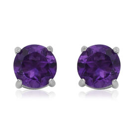 One Time Deal-Zambian Amethyst (Rnd) Stud Earrings (with Push Back) in Rhodium Overlay Sterling Silv
