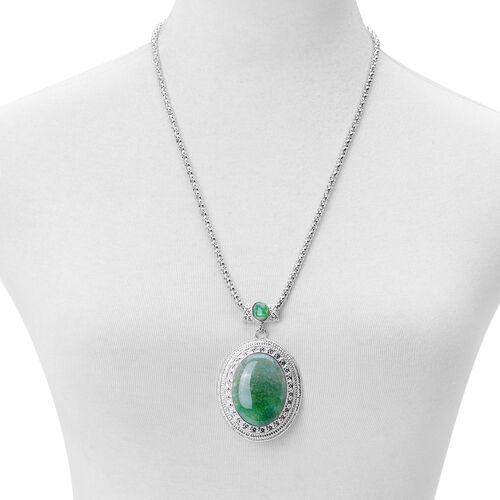 Green Agate Pendant with Chain (Size 22 with 2 inch Extender) and Hook Earrings in Silver Tone 90.000 Ct.