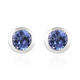 9K White Gold 1 Carat AA Tanzanite Solitaire Stud Earrings (with Push Back)