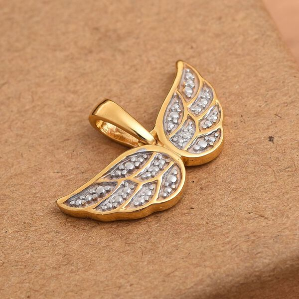 Diamond Angel Wing Pendant in 14K Gold Over Sterling Silver