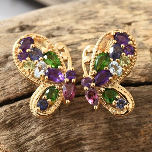 Rhodolite Garnet, Russian Diopside, Sky Blue Topaz and Multi Gemstone Earrings (with Push Back) in 14K Gold Overlay Sterling Silver 3.500 Ct. Silver wt 5.99 Gms.