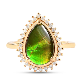 AA Canadian Ammolite (Pr 12x8mm) and Diamond Ring in 14K Gold Overlay Sterling Silver 2.48 Ct.