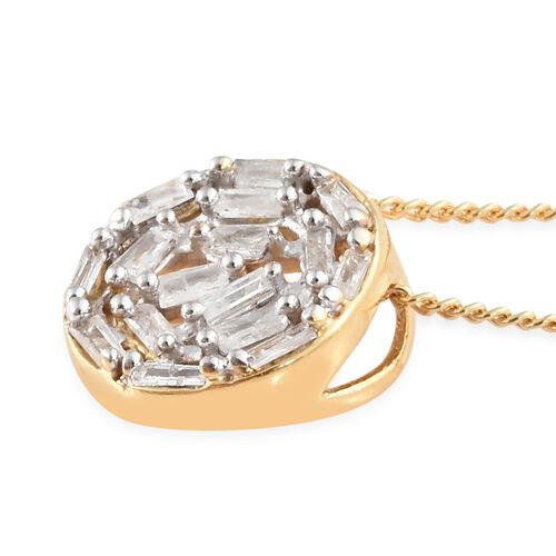Diamond 14K Gold Overlay 14K Gold Overlay Sterling Silver Pendant With Chain (Size 20)  0.200  Ct.