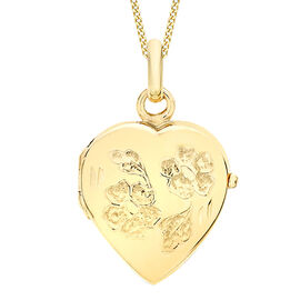 Limited Edition 9K Yellow Gold Daisy Engraved Heart Locket Pendant
