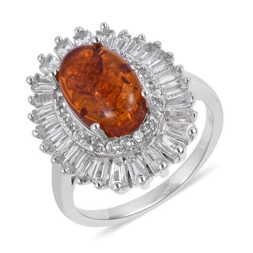 Baltic Amber (Ovl 1.25 Ct), White Topaz Ring in Rhodium Plated Sterling Silver 2.820 Ct. Silver wt 5
