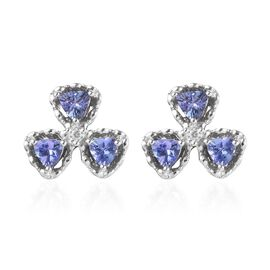 GP Tanzanite and Zircon and Blue Sapphire Shamrock Stud Floral Earrings in Platinum Plated Silver
